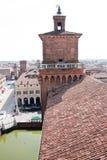 城市费拉拉屋顶 库存照片