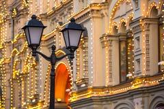 城市路灯柱,莫斯科,俄罗斯 免版税库存图片