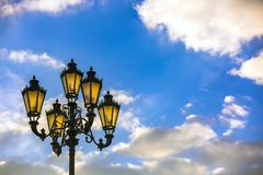 城市路灯柱,莫斯科,俄罗斯 库存图片