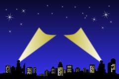 城市轻的天空星形 库存照片