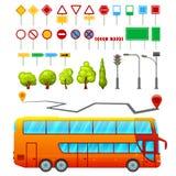 城市运输元素集 免版税库存照片