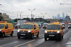 城市运输第一次莫斯科游行  库存照片