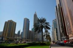 城市迪拜地铁全景 免版税库存照片