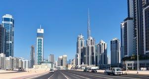 城市迪拜的中心地区的全视图 图库摄影