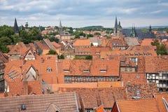 城市都市风景中世纪quedlinburg 免版税库存图片