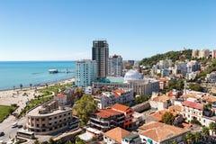 城市都拉斯,阿尔巴尼亚的顶视图 库存图片