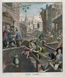 城市酒精杜松子酒皇家-杜松子酒车道威廉・贺加斯1751 免版税库存照片