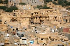 城市金黄印度jaisalmer 免版税库存照片