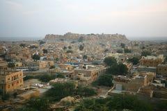 城市金黄印度jaisalmer 免版税库存图片