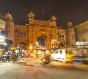 城市门在老镇比卡内尔在拉贾斯坦,印度 免版税库存照片