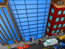 城市顶上的场面街道 库存照片
