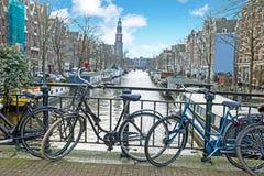 城市风景从有韦斯特教会的荷兰阿姆斯特丹 免版税库存图片