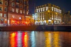 城市风景从阿姆斯特丹在荷兰在晚上 库存照片