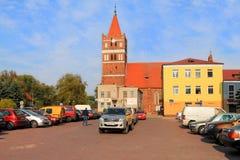 城市风景在一个晴天在市Pravdinsk 免版税库存照片