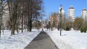 城市风景在晴朗的冬日在莫斯科,俄罗斯 股票录像