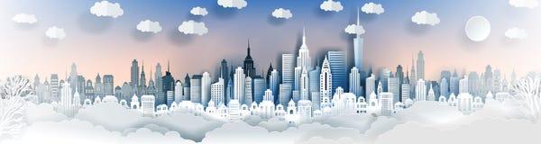 城市风景模板 纸城市风景 与高摩天大楼的街市风景 皇族释放例证