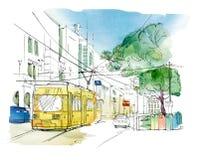 城市风景的剪影与一辆黄色台车、汽车、红灯和坦克的垃圾的分类收集的 向量例证