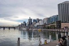城市风景的悉尼视图的达令港 免版税库存照片