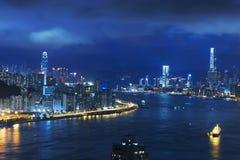 城市香港晚上 图库摄影