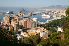 城市马拉加全景西班牙视图 免版税库存图片