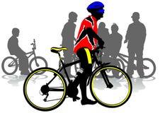 城市骑自行车者 图库摄影