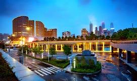 城市高楼夜视图 免版税图库摄影