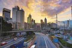 城市高速公路铜锣湾, 库存照片