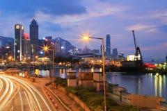 城市高速公路铜锣湾, hk海岛 库存图片
