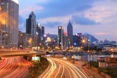 城市高速公路铜锣湾, hk海岛 图库摄影