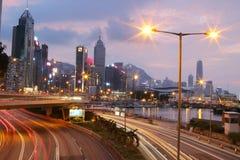 城市高速公路铜锣湾, hk海岛 免版税库存照片