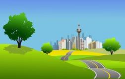 城市高scape风景方式 免版税库存图片