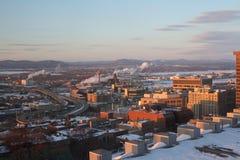 城市魁北克冬天 免版税库存照片