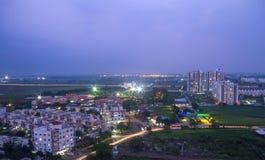 城市鸟瞰图在夜 免版税库存图片
