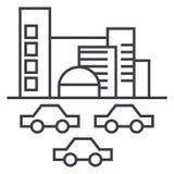 城市,交通,汽车导航线象,标志,在背景,编辑可能的冲程的例证 皇族释放例证