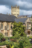 城市巴恩的中世纪风景,萨默塞特,英国 库存照片