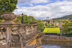 城市巴恩的中世纪风景,萨默塞特,英国 免版税库存照片