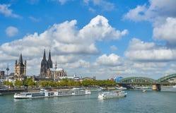城市Cologn,德国的全景 图库摄影