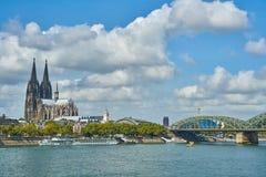 城市Cologn,德国的全景 免版税图库摄影