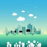 城市comunication与平的样式的网络云彩 传染媒介illustra 库存照片