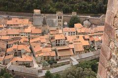 城市conflent de筑堡垒于的villefranche 库存图片