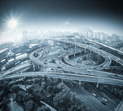 城市fisheye天桥视图  库存照片