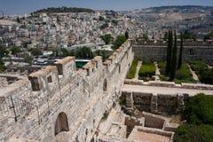 城市jeruslaem挂接古庙 库存照片