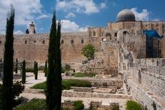 城市jeruslaem挂接古庙 免版税库存图片