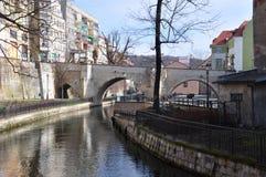 城市klodzko,桥梁的波兰看法 免版税库存图片