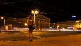 城市krilatskoe莫斯科晚上 库存图片