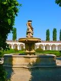城市Kromeriz KromÄ› Å™ÃÅ ¾ - Galerie在有喷泉的花园里,联合国科教文组织,捷克,摩拉维亚 免版税库存图片