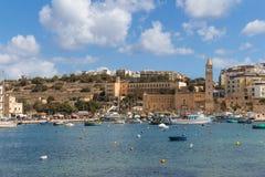 城市Marsascala,海岛马耳他, 2016年5月02日 库存照片