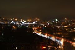 城市nightscape 库存图片