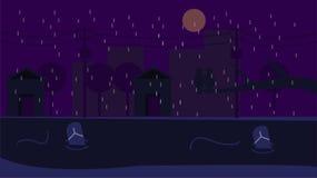 城市nigth充分天空月亮 皇族释放例证