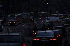 城市nite交通堵塞 库存照片